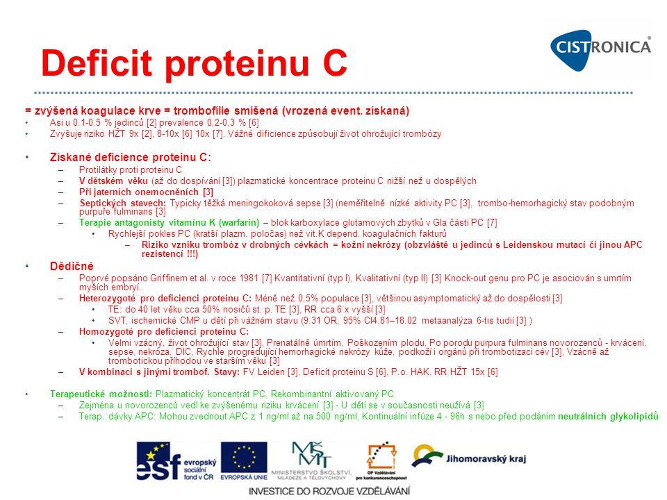 Deficit proteinu C = zvýšená koagulace krve = trombofílie smíšená (vrozená event. získaná) Asi u 0.1-0.5 % jedinců [2] prevalence 0,2-0,3 % [6]